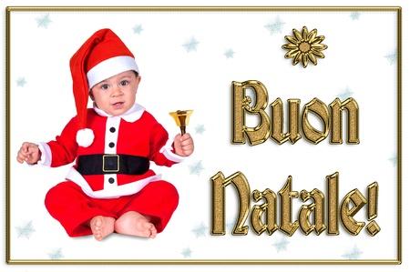 cute Christmas baby, buon natale golden text Stock Photo - 16790896