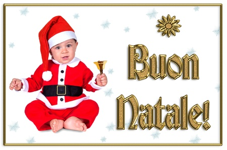 cute Christmas baby, buon natale golden text Stock Photo - 16790896