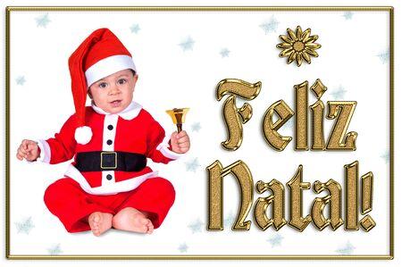 cute Christmas baby, feliz natal golden text Stock Photo - 16790899