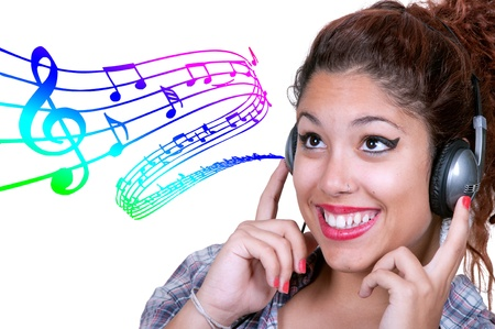 Casual Young Girl Listening Music with background musical score Stock Photo - 17045859