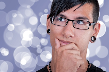 Thinking latino boy portrait  photo