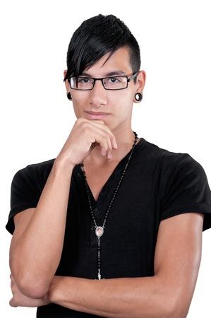 Thinking latino boy portrait on white background photo