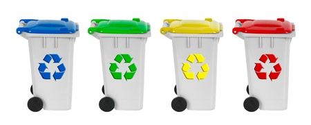 recycling symbols: containers for recycling waste sorting - plastic, glass, metal, paper