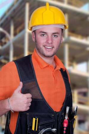 portrait of construction worker, looking at camera  photo