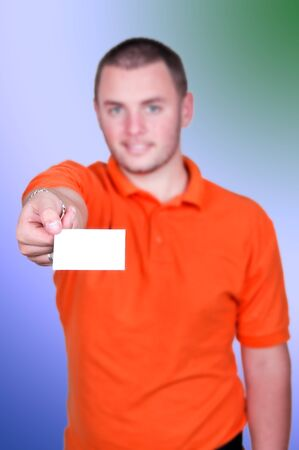 portrait of; man holding blank business card photo