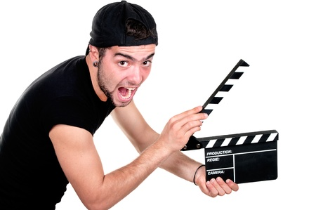 A smiling man holding a movie clap isolated on white background  photo