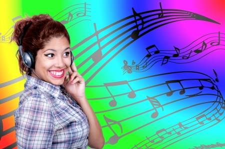 musical score: Casual Young Girl Listening Music with background musical score