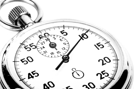 clock hands: old timer on white background