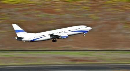 aircraft take off: Commercial liner taking off from the runway