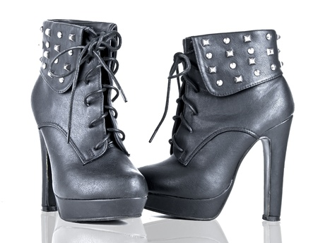 Women s shoes: Black Platform Booties Studded Heel on white background Kho ảnh