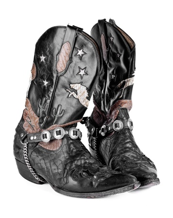 working cowboy: bull leather cowboy boots on white background