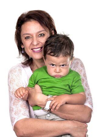 grandmother and children: grandmother with her angry grandson