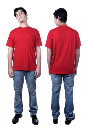 Front and back of young man standing isolated on white  Stock Photo