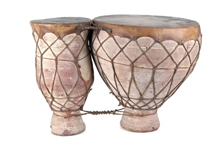 african drums: African bongo drums on white background Stock Photo