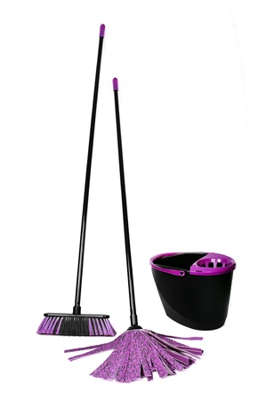 broom mop and bucket on white background