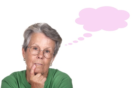 serious and thoughtful elderly on white background photo