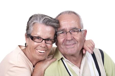 happy couple white background: Portrait Of Happy Senior Couple Isolated Over White Background