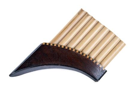 panpipe: Romanian pan flute on white background