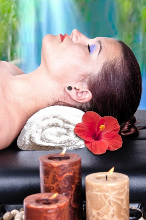sexual chakra: Beautiful young girl does spa treatments