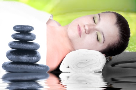 sexual chakra: young woman in a spa   Stock Photo