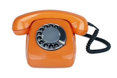classic dial phone on white background  photo