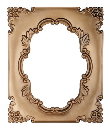 Retro gold frame - Oval , on white background