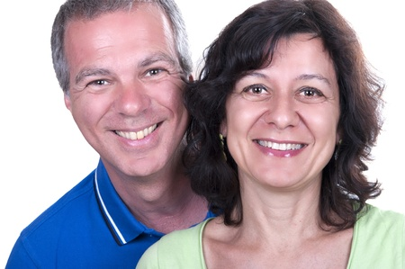 Portrait Of Happy Senior Couple Smiling on white background Stock Photo