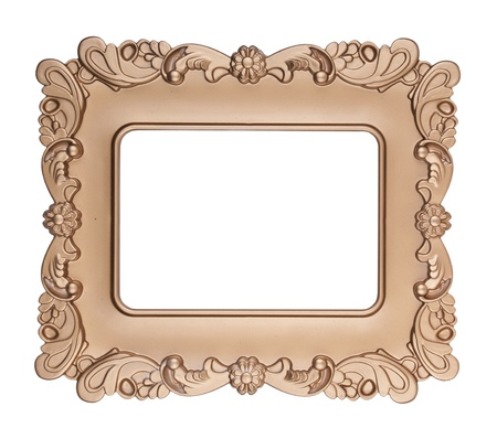 Retro gold frame , on white background photo