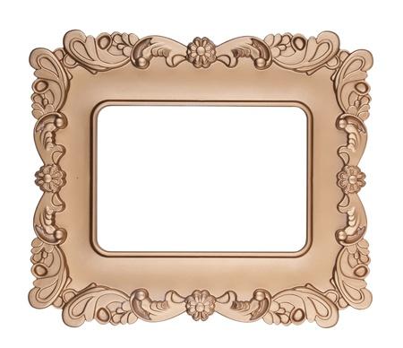 carved: Retro gold frame , on white background