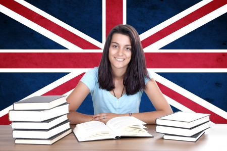 translate: young girl student pc on the background with UK flag. English language learning concept