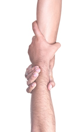 helping hand on white background