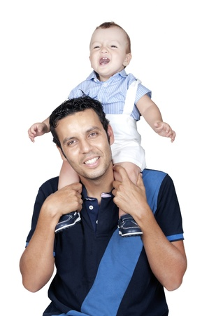 son on his father's shoulders having fun  Stock Photo - 21552316