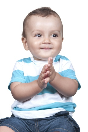 Cute baby boy isolated on white background photo