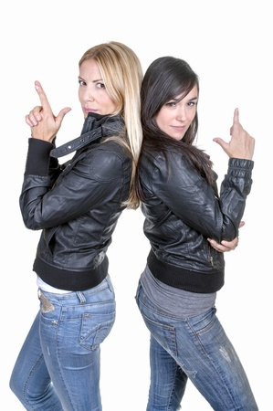 cousin: girls doing charlies angels on white background
