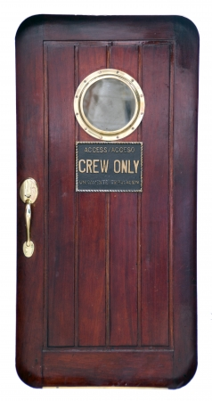 ship porthole: door of a old sailing ship  Stock Photo