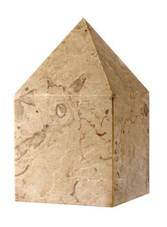 secret society: the cubic stone Masonic on white background Stock Photo