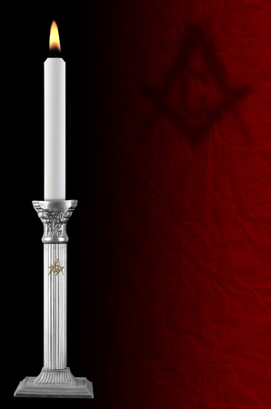 freemason: old silver plated candlestick, freemason style Stock Photo