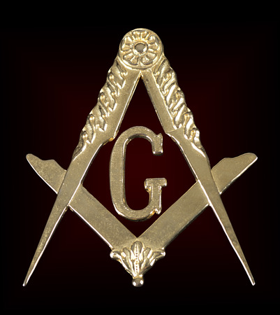 ancient freemasonry golden medal  square & compass
