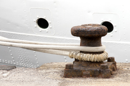 mooring bollard with heavy duty mooring ropes photo