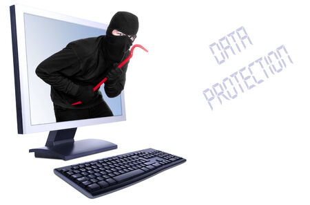 scammer: Burglar in computer - isolated on white  Stock Photo