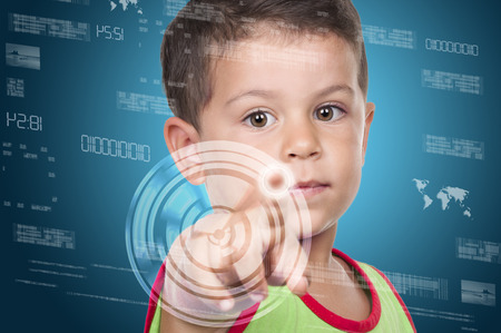 holograph: little boy pressing high tech type of modern buttons on a virtual background