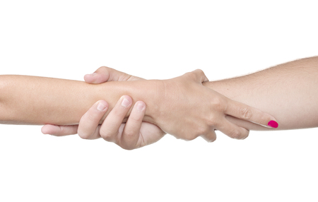 helping hand on white background photo