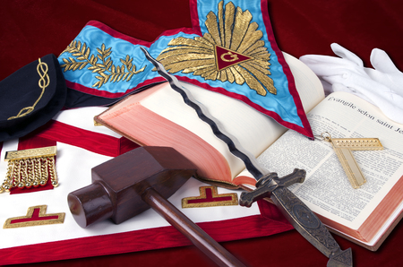 freemasonry: ancient freemasonry symbolic objects of Worshipful Master Stock Photo