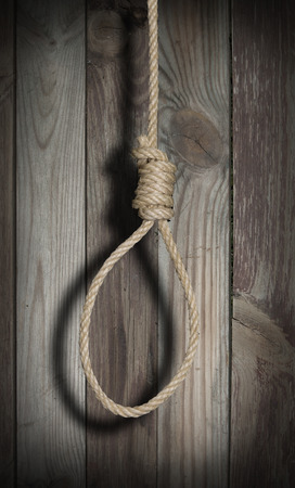 gallows: Hangmans rope in the darkness