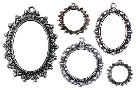 medallion: Vintage metal medallion frames, isolated on white Stock Photo