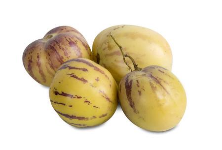 pepino: Whole fresh Pepino fruit on white background Stock Photo