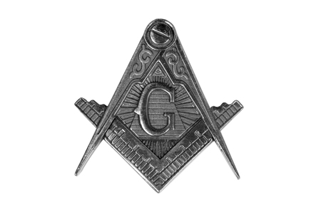 symbolism: a freemasonry medal  square & compass on white background