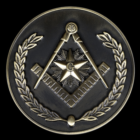 societies: a freemasonry brass medal  square & compass