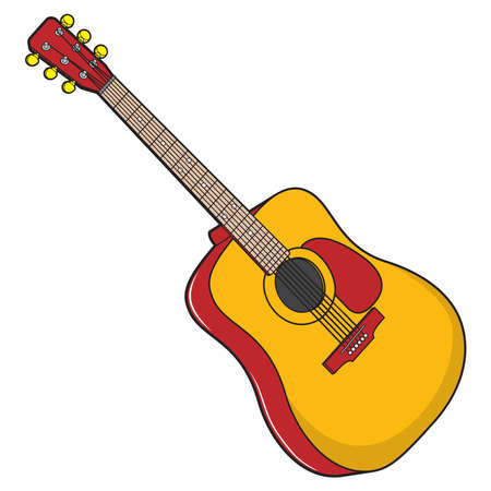 A guitar vector illustration, A isolated on white background.Top view Vecteurs