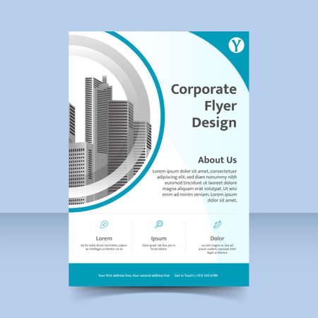 water ripple fresh blue Corporate business flyer poster template design